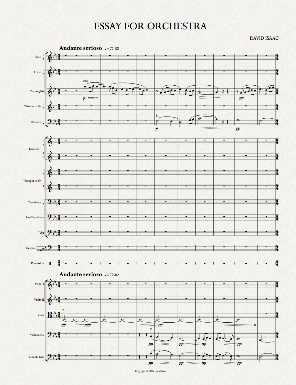 david isaac essay for orchestra view page one